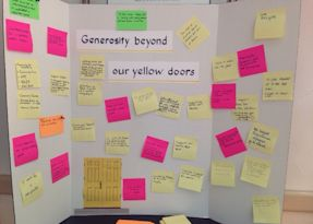 Post-its describing generosity and volunteering outside First Parish