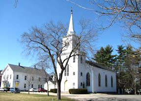 First Parish buildings in the early spring